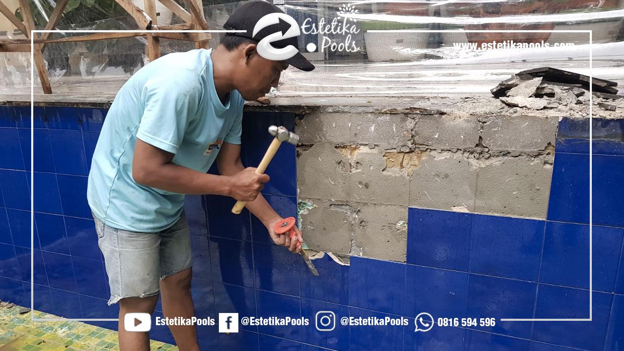 Pekerjaan Bobokan Keramik Lama Kolam Renang Karawaci